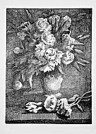Vaso di fiori con rose e peonie
